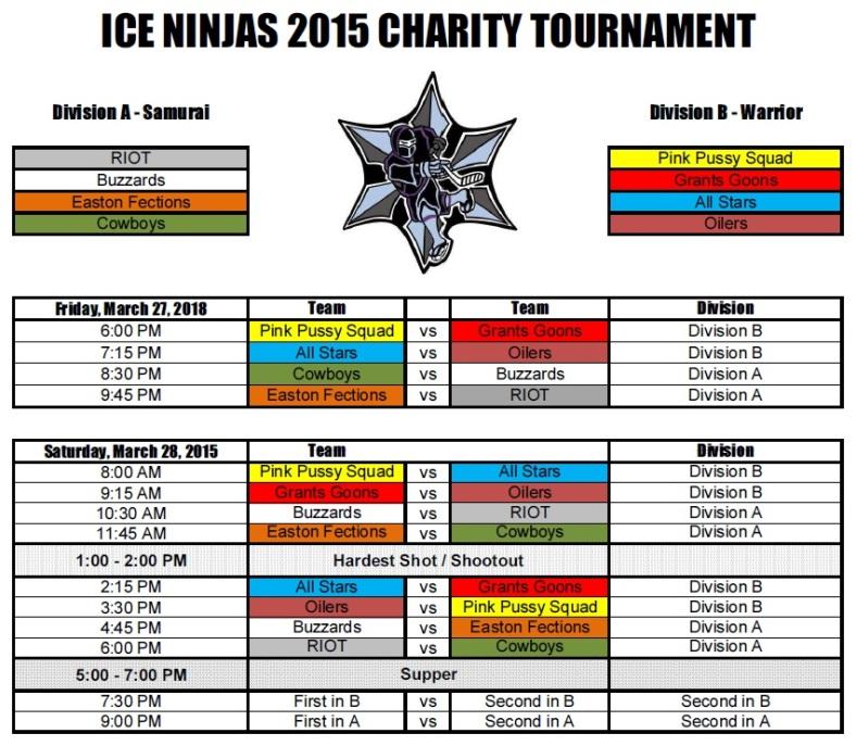 Ice Ninjas Tourney Schedule